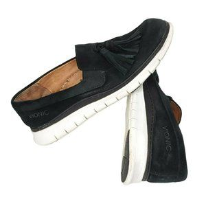 Vionic Black QUINN Suede Tassel Loafers 7.5